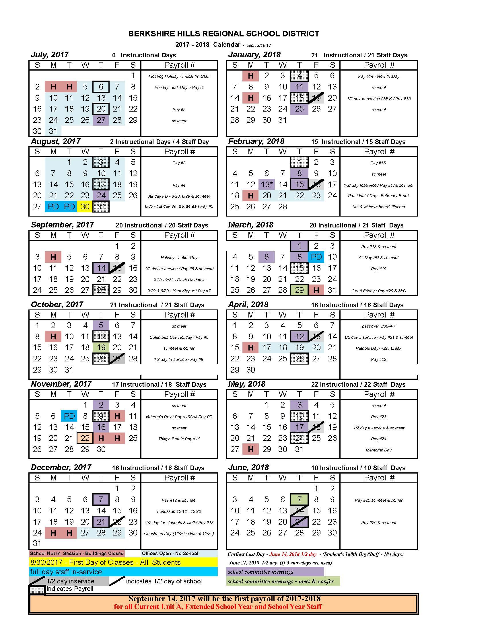 2017-2018 BHRSD School Calendar