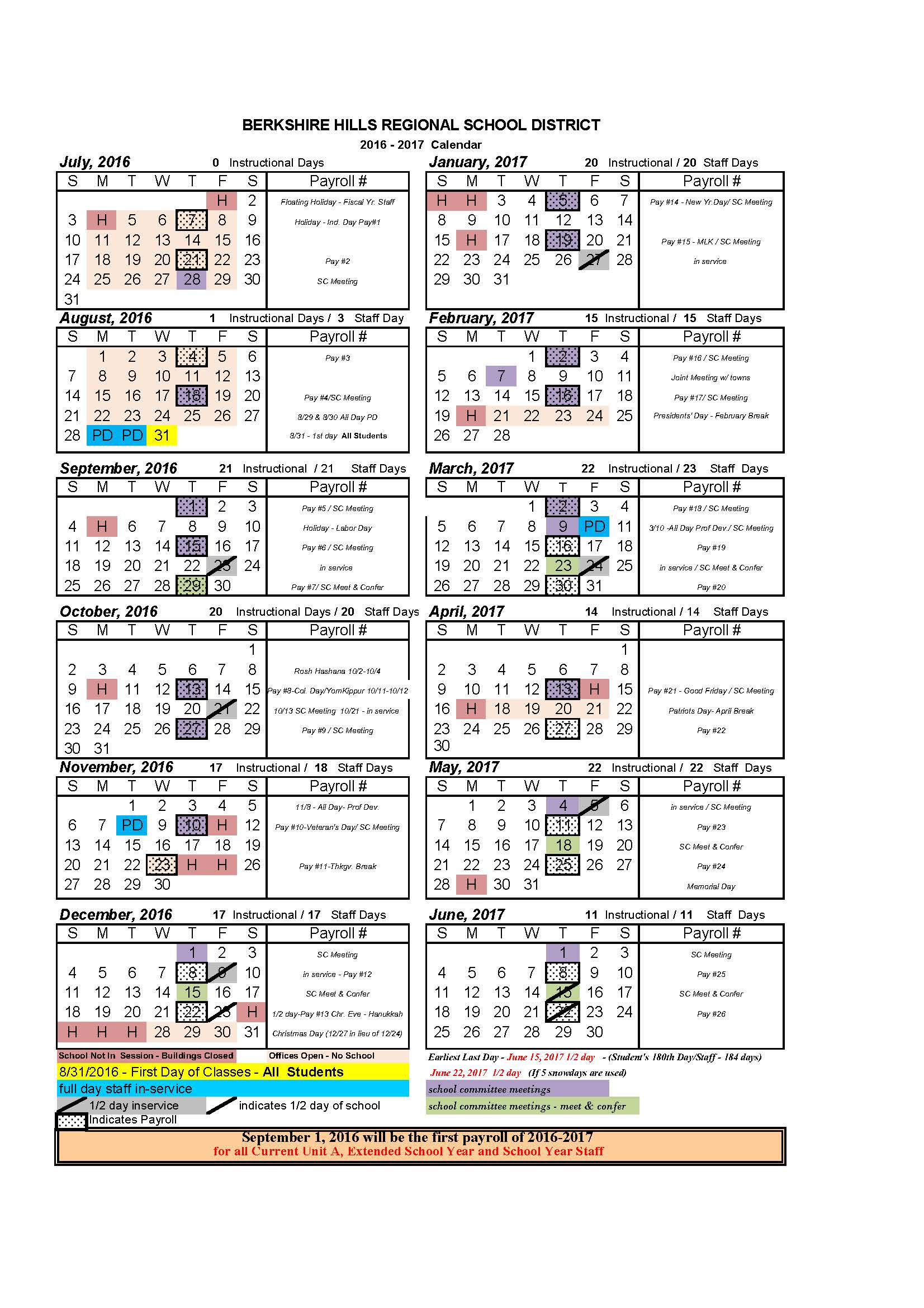 BHRSD 2016-17 School Year Calendar