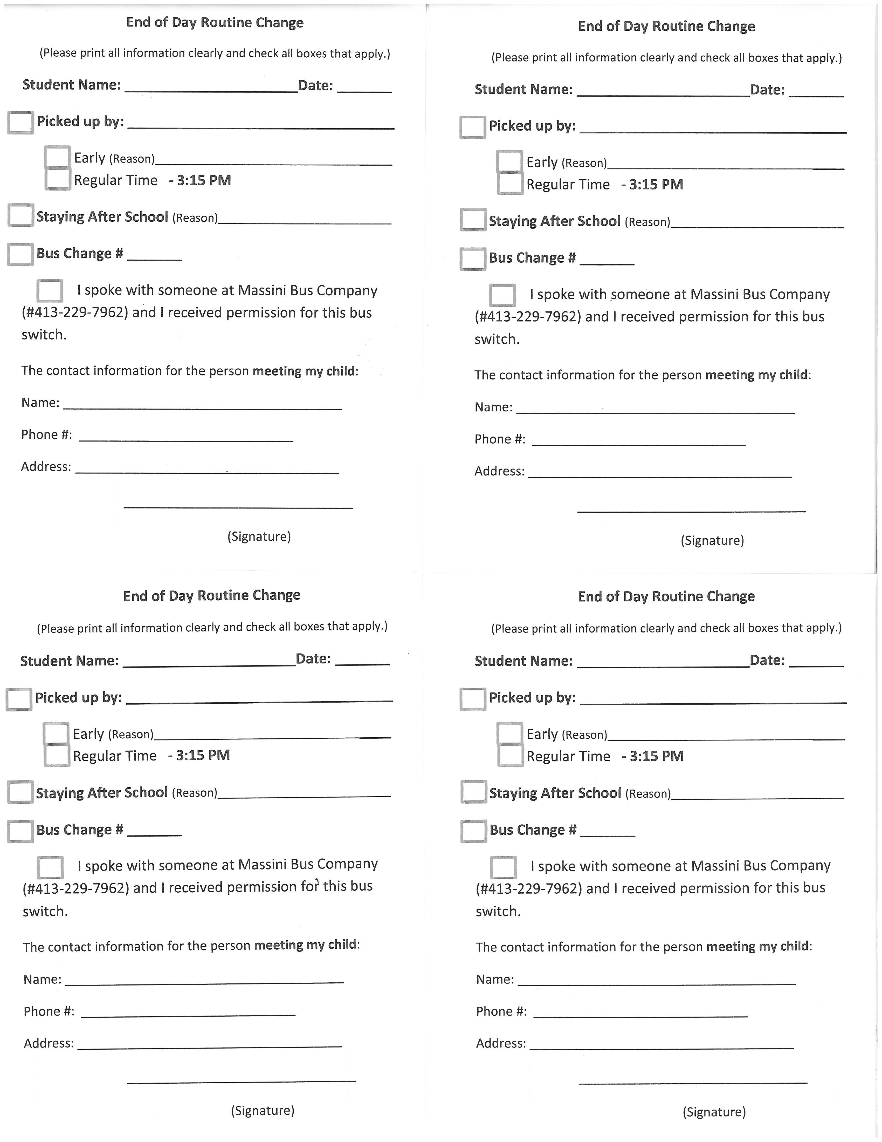 Change In Dismissal Form Muddy Brook Regional Elementary School Change In  Dismissal Form Change In Dismissal Form Change Of Address Printable Form  Print Change Of Address Form