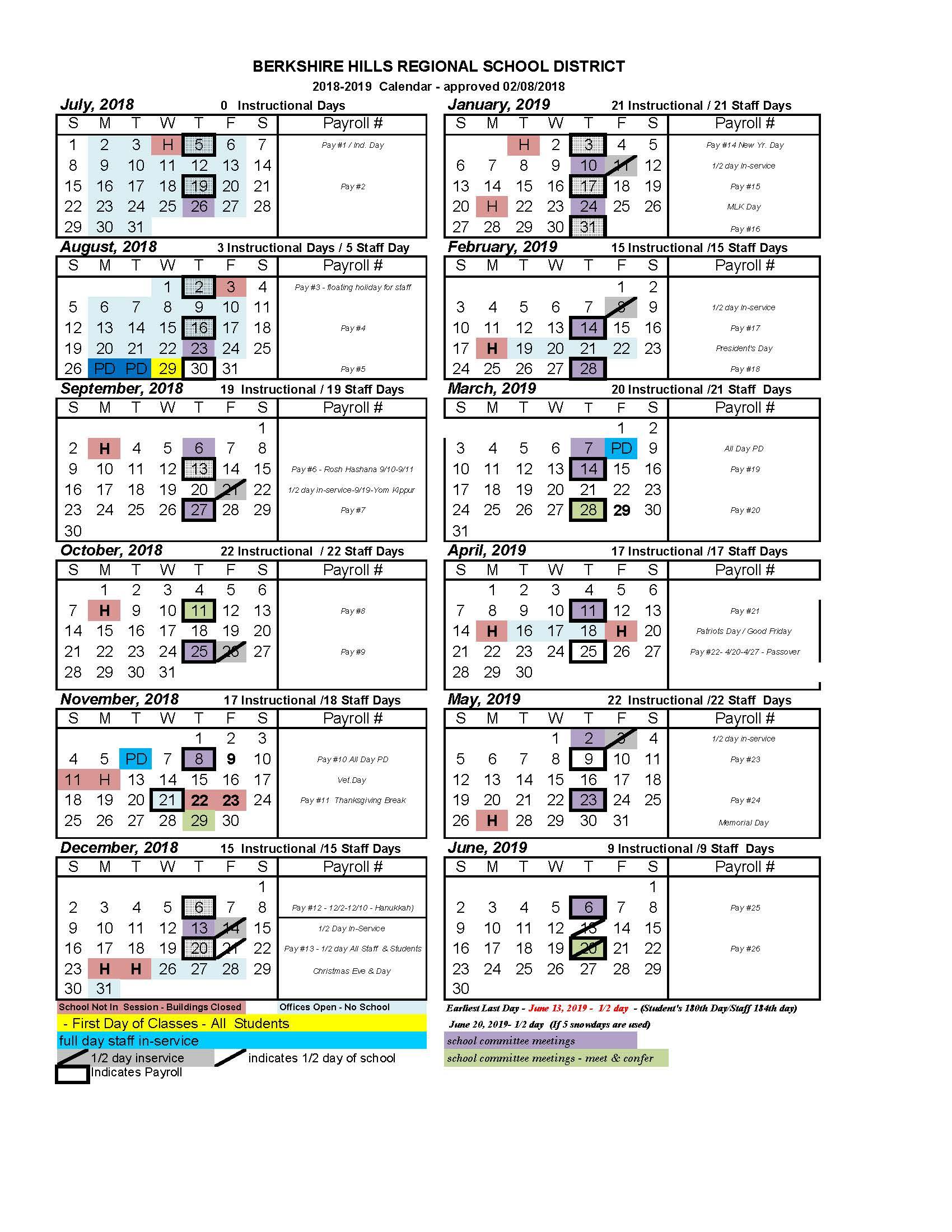 2018-2019 BHRSD School Calendar