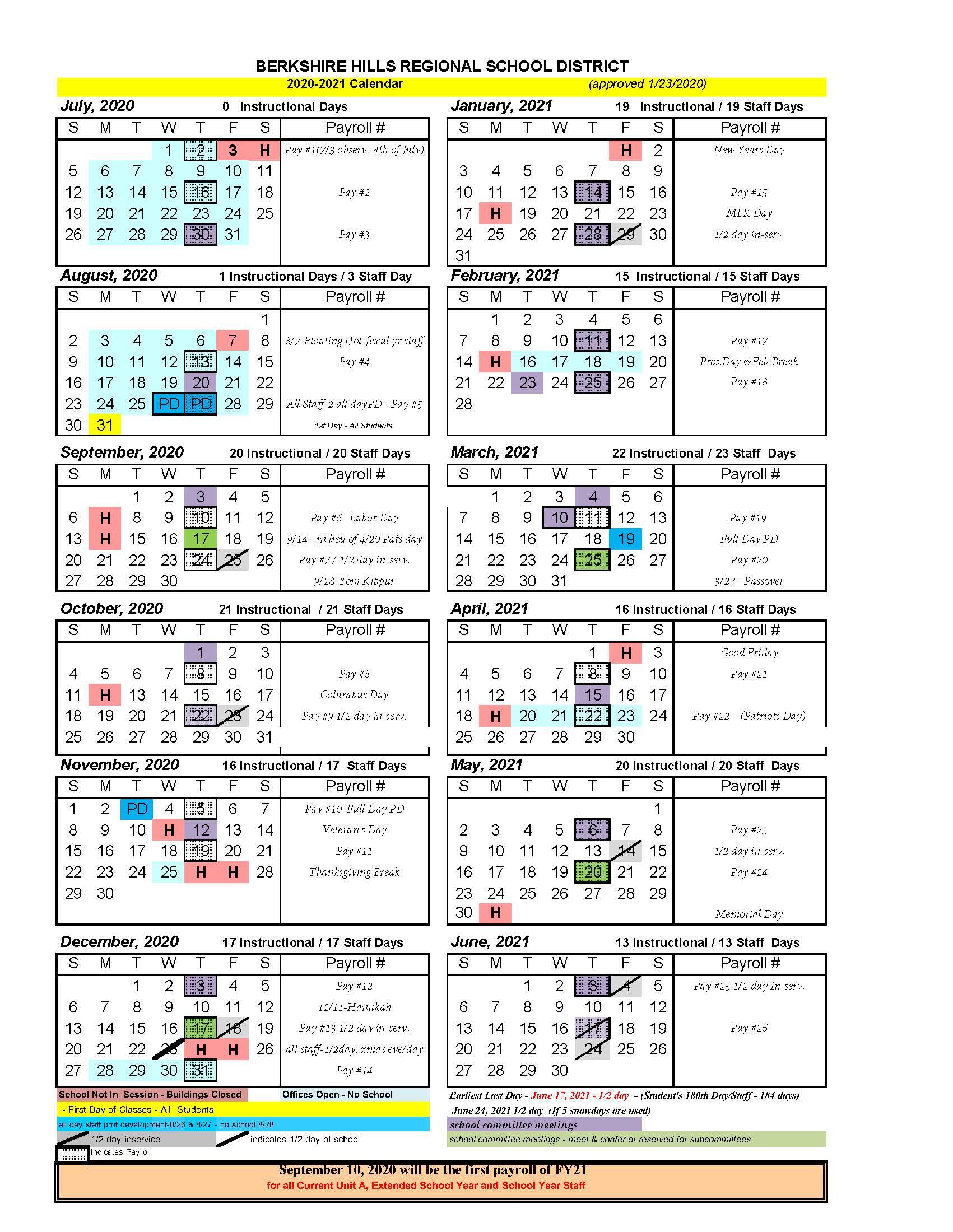 2020-2021 BHRSD School Calendar